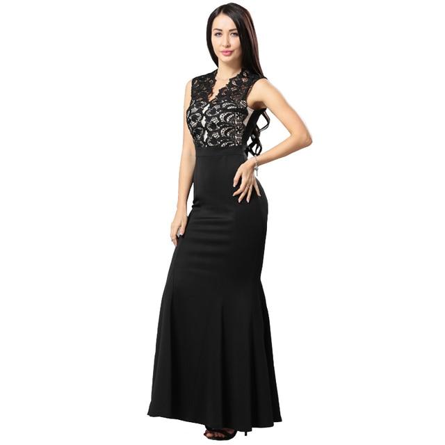 Woman Long Dresses Summer Scallop Lace Crochet Top Maxi Mermaid Dress For Host Sexy Club Dresses Female Vestido Longo De Festa