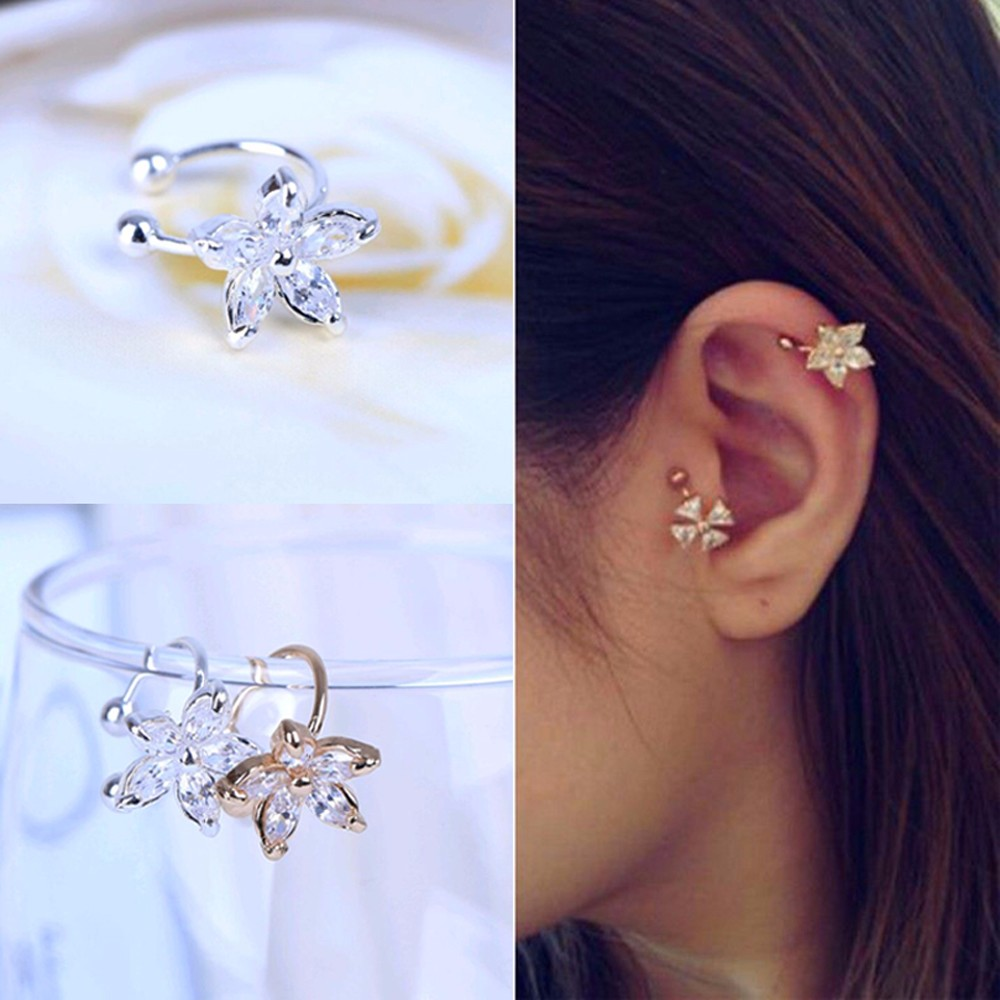 2017 New Fashion Flower Shape Rhinestone Left Ear Cuff Clip Gold Silver Earring Ear Stud gift for women girl Wholesale