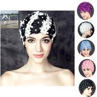 2016 Sports High Quality Women Floral Print Pearl Diamond Swimming Cap Surf Hat Sports Swim Pool Shower Cap +Nose Clip Earplugs