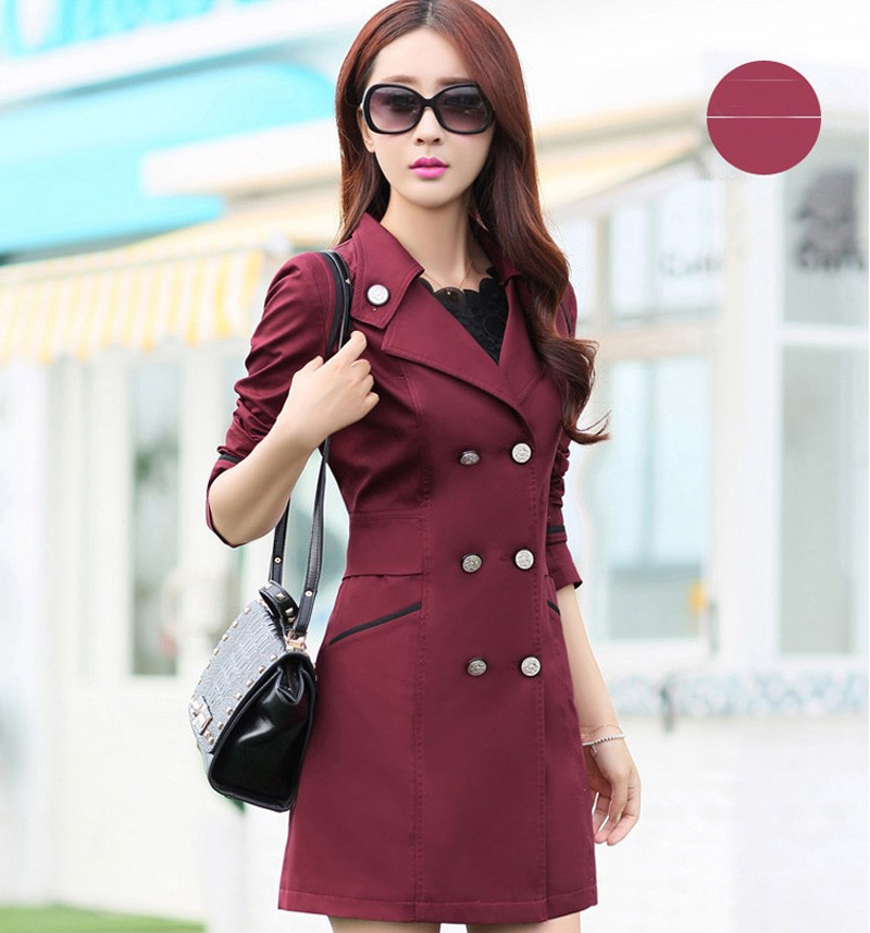 FIONTO Spring Autumn Trench Coat 19 Turn Down Collar Casual Trench Coat Women Solid Long Slim Double Breasted Coats A034-1 8