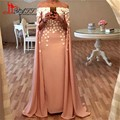 Hot Kaftan Dress 2017 With Cape Mermaid Long Evening Dresses Plus Size Flowers Boat Neck Prom Gown Party Dress Vestido de noche