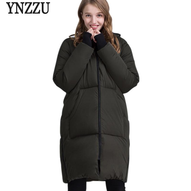 YNZZU 2017 New Winter Collection Women Down Jacket Fashion Long Style 90% White Duck Down Female Outwears Hooded Plus Size O202