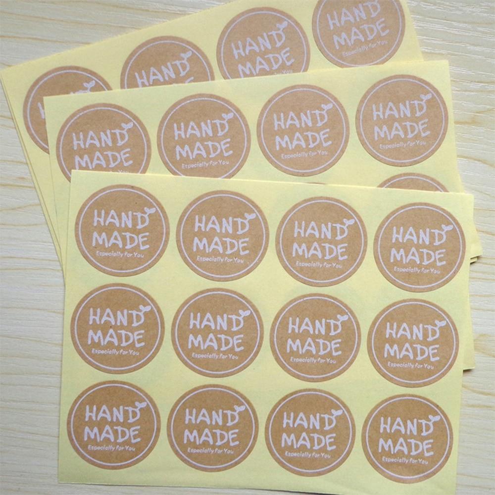 120Pcs/Lot 35*35mm Round White HAND MADE Stickers Kraft Label Sticker DIY Handmade Gift Cake Baking Sealing Sticker120Pcs/Lot 35*35mm Round White HAND MADE Stickers Kraft Label Sticker DIY Handmade Gift Cake Baking Sealing Sticker