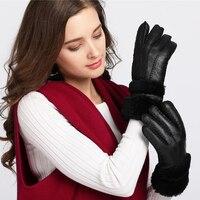 Ywmqfur قفازات النساء قفازات الشتاء الغنم الحقيقي الفراء الدافئة قفازات السيدات كاملة اصبع قفازات جلد طبيعي قفازات guantes h08