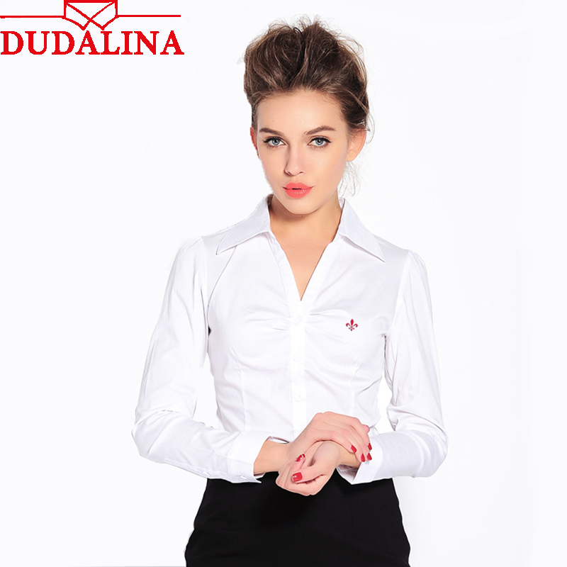 902addaaa04 Dudalina вышивка женские рубашки леди 2019 боди Blusas Femininas рубашки  женские с длинным рукавом Топы Roupas