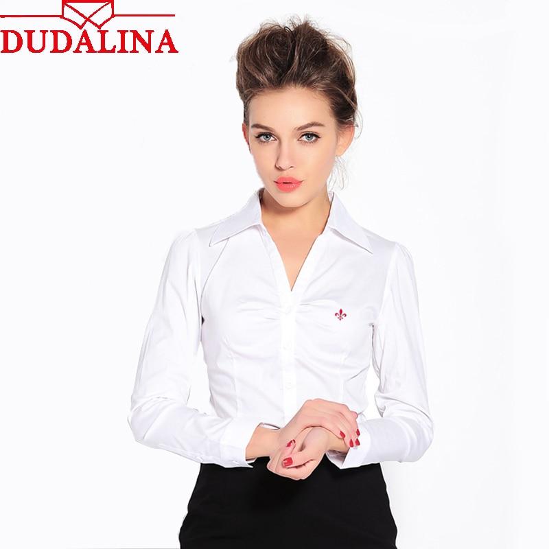 Dudalina Embroidery Women Female Shirts Lady 2019 Body Blusas Femininas Shirts Women Long Sleeve Tops Roupas Camisas Plus Size