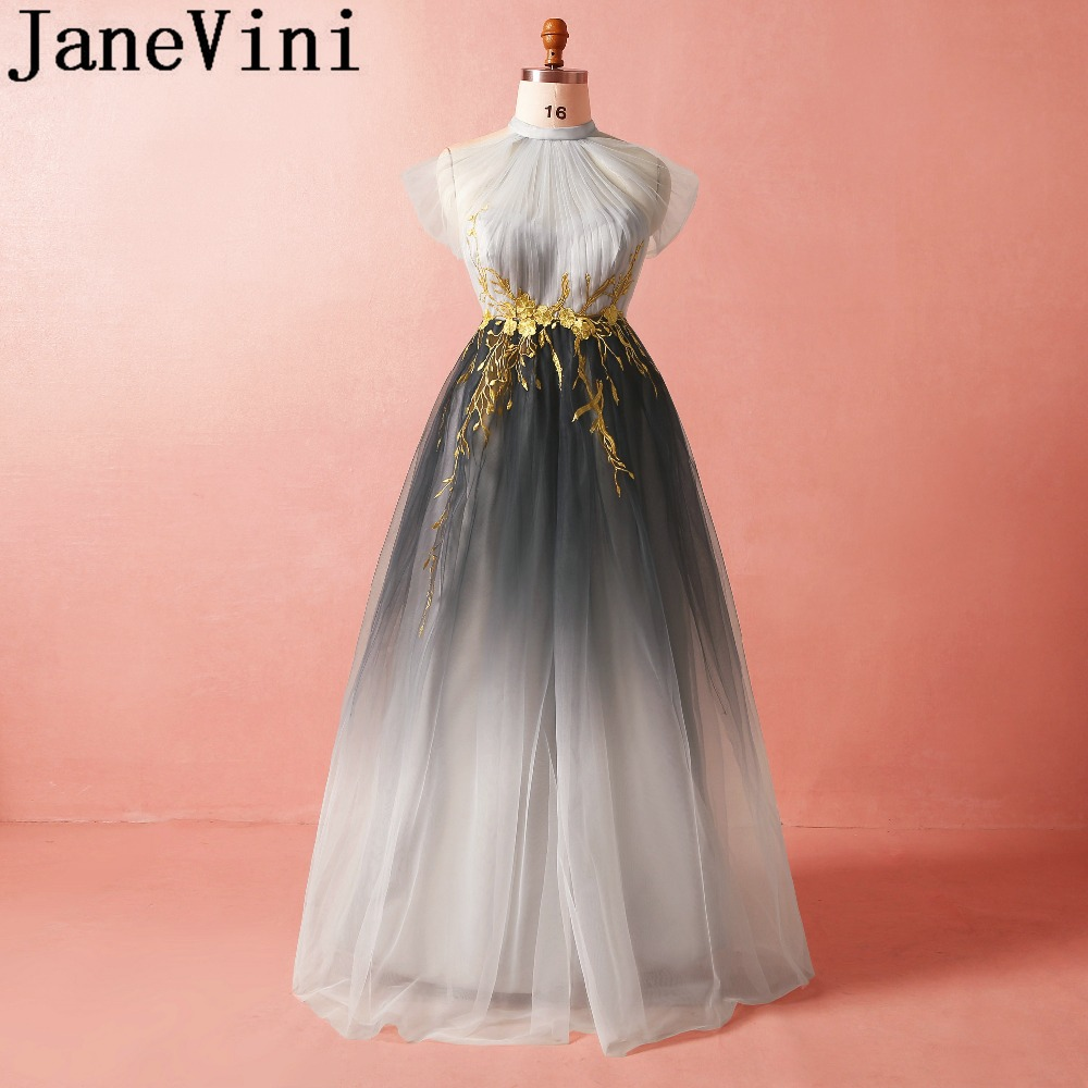 JaneVini 2018 Sexy Long   Bridesmaid     Dresses   Gradient Gray A-Line Halter Gold Lace Appliques Plus Size Vestido De Festa Casamento