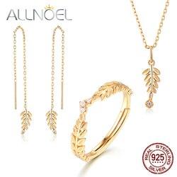ALLNOEL 2019 nowy czysta 925 Sterling Silver Jewelry Sets dla kobiet cyrkon diament złoty liść oliwny kolczyki wisiorek obrączka naszyjnik