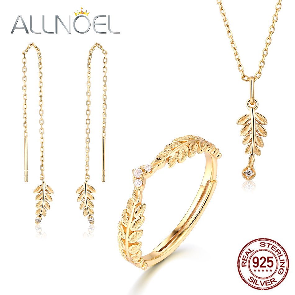 ALLNOEL 2019 New Pure 925 Sterling Silver Jewelry Sets For Women Zircon Diamond Gold Olive Leaf Earrings Ring Pendant Necklace