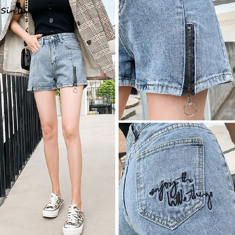 Women 39 s High Waist Denim Shorts Casual Loose Vintage Letter Print Draped Short Pants Female Zipper Jeans Trousers Summer Hot in Shorts from Women 39 s Clothing