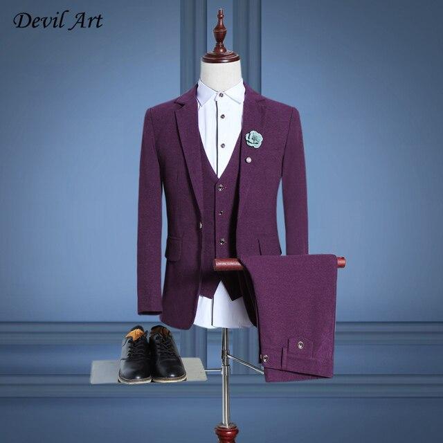 Шерсть Мужчины Фиолетовый Красный Blazer Костюмы (куртка + Брюки + Жилет) сплошной Цвет Slim Fit Человек Деловой Костюм Бренд Одежды Свадебные Костюмы DHL Бесплатно