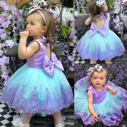 Formal Princess Tutu Flower Girl Dress Kid/'s Wedding Pageant Bokwnot Dresses