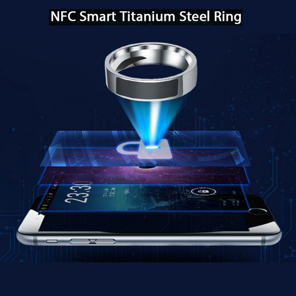 Steel Titanium 6-13 Yard NFC Smart Ring Mobile Phone Touch Unlocker Half Circle Black Intelligent Wear Magic Finger Digital Ring titanium ring