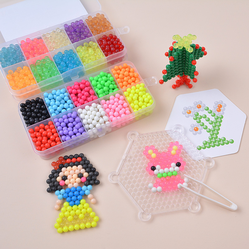 Color Crystal Bean DIY Water Spray Magic Beads 3D Puzzle Educational Kit Juguetes Ball Game Toys For Children