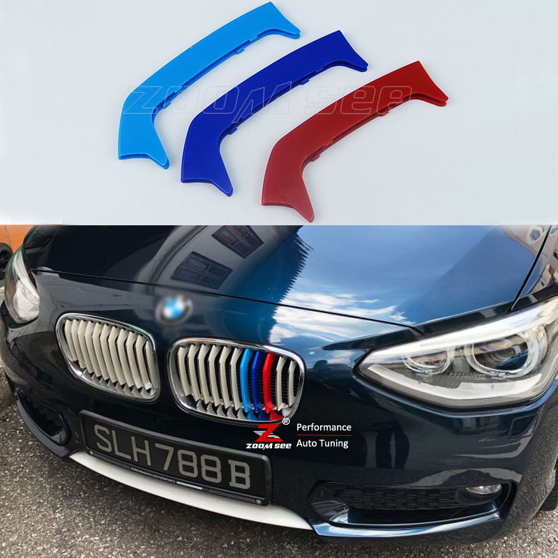 cheapest For BMW 1 series F20 F21 Accessories Auto Front Grille Trim Sport Stripes Grill M Performance Strips Clip Cover Stickers