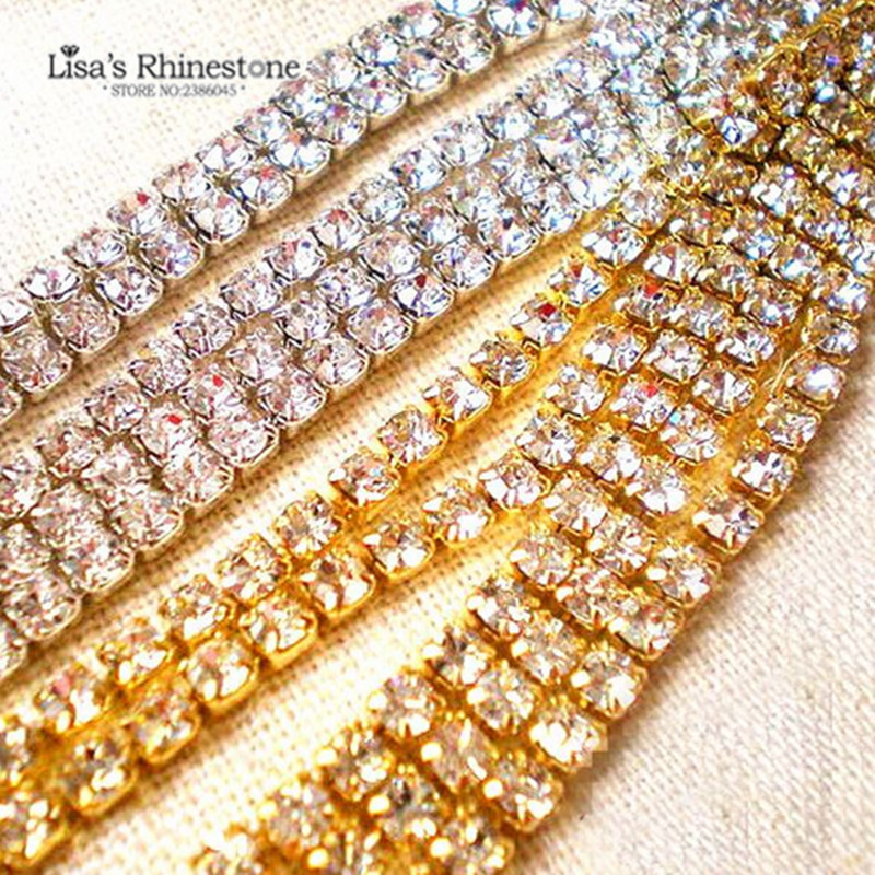 SS6 SS8 SS10 SS12 SS16 SS18 SS24 Crystal Clear Silver/Gold Base Close Sew on Cup chain Rhinestone For DIY Dress Accessories