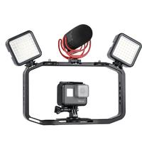 Handheld Video Rig for DSLR Camera Phone Gopro Vertical Shooting Phone Cage for Canon Nikon iPhone Xs Max X 8 7 Gopro