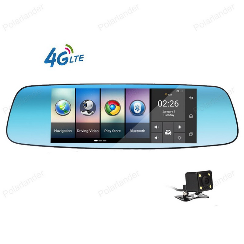 Car DVR Camera Video recorder 7 Inch mirror Android 5.1 4G dash cam Registrar black box with two cameras