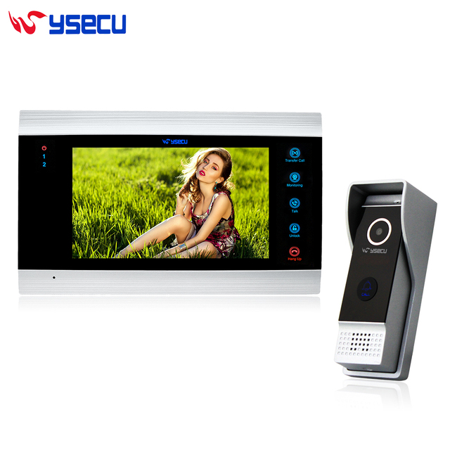 Upgraded 7 Inch Wired Video Intercom Door Phone System 1200TVL Record Photo Video Night Vision Camera 1 Monitor 1 Doorbell