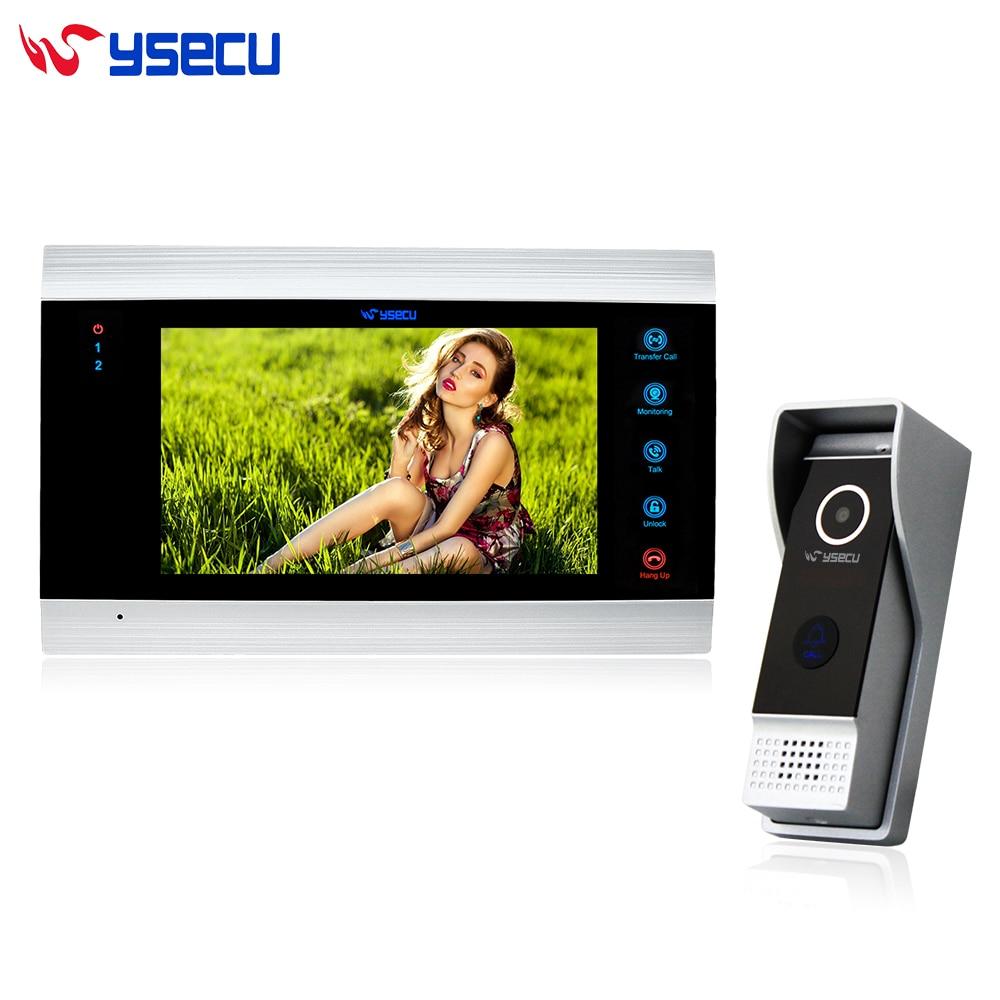 YSECU Upgraded 7 Inch Wired Video Intercom Door Phone System 1200TVL Record Photo Video Night Vision Camera 1 Monitor 1 Doorbell