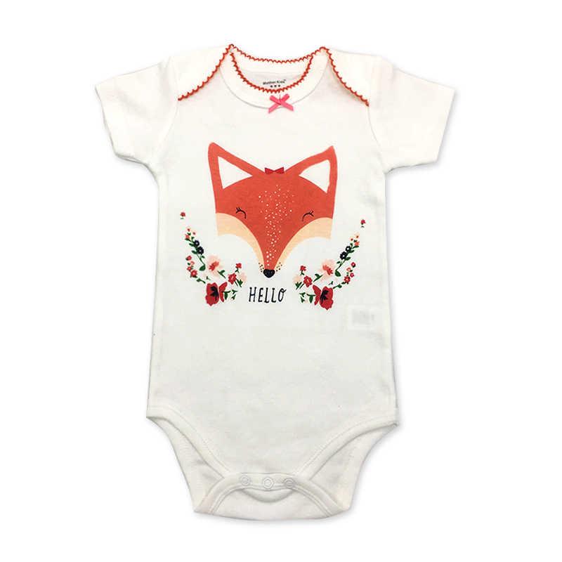 Ropa de bebé de 0-12 meses de los bebés de manga corta de una pieza mamelucos para niño poco lindo de impresión de dibujos animados de ropa infantil ropa