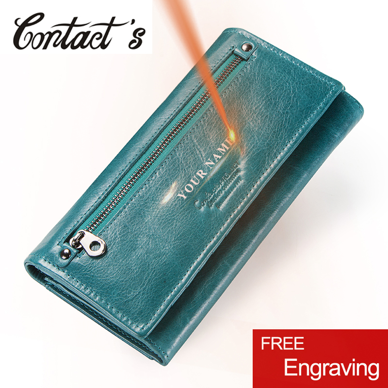 Contact's 2019 Fashion Wallets Genuine Leather Women Long Clutch Wallet High Capacity Coin Purse With Money Bags Card Holder