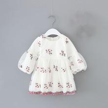 Осеннее платье для новорожденных девочек; бальное платье на крестины; платье принцессы с пышными рукавами для детей; вечерние платья для дня рождения; Цвет От 0 до 2 лет, белый