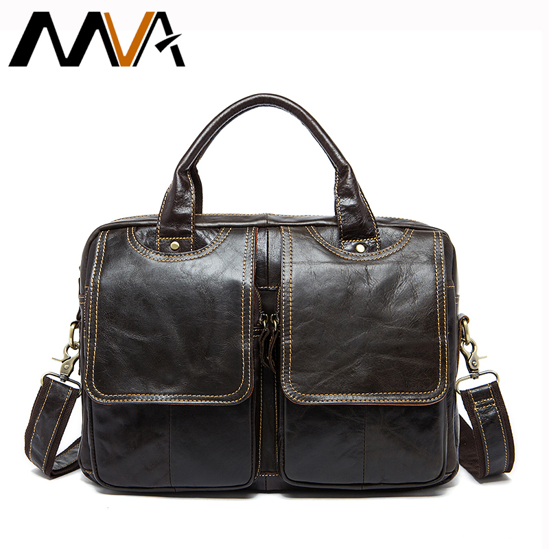 MVA Men's Briefcases men's leather male man Laptop bag 14inch business Messenger bags men Shoulder Bags Genuine Leather 8002-1