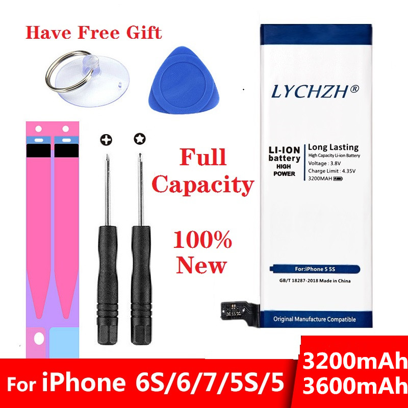 Nova Bateria De Lítio Para Baterias de Substituição Apple iPhone 5 6S 6 7 5S Interno Bateria Do Telefone 3200mAh 3600mAh + Ferramentas Gratuitas