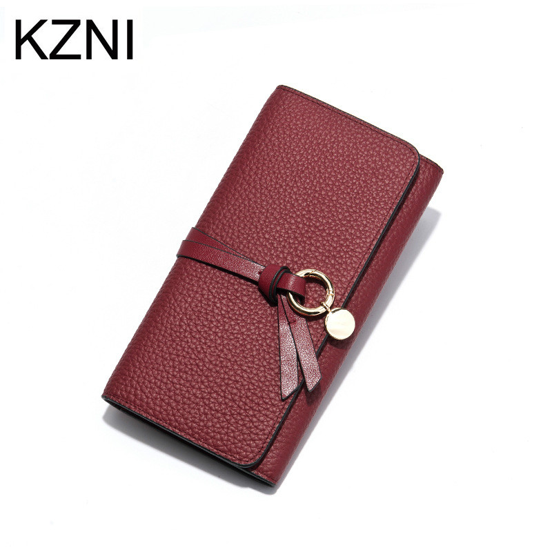 KZNI Wallet Female Designer Women Purses Genuine Leather Purse Portefeuille Femme Billeteras Para Mujer women female bow famous brand designer hello kitty leather long wallets purses carteira feminina couro portefeuille femme 40
