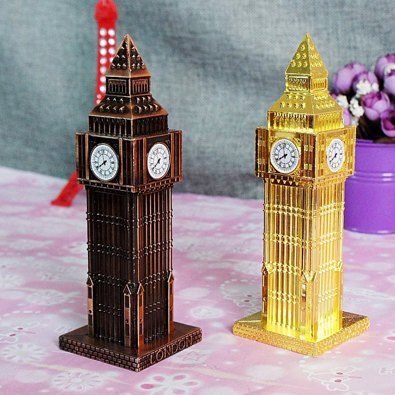 1pc 15cm London Big Ben Statue Fake Clock Gold Bronze Wine