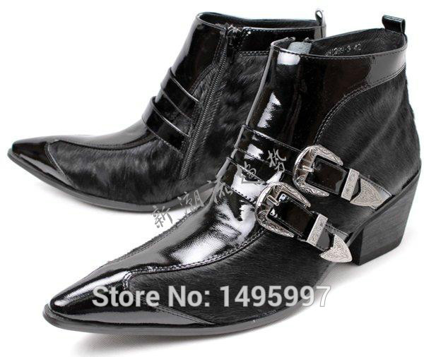 c2cc71b7641 US $139.0 |Classical Patent Leather Mens Black Boots British Style Pointed  Toe Mens Dress Ankle Boots Shoes Genuine Leather Buckle Shoes-in Ankle ...