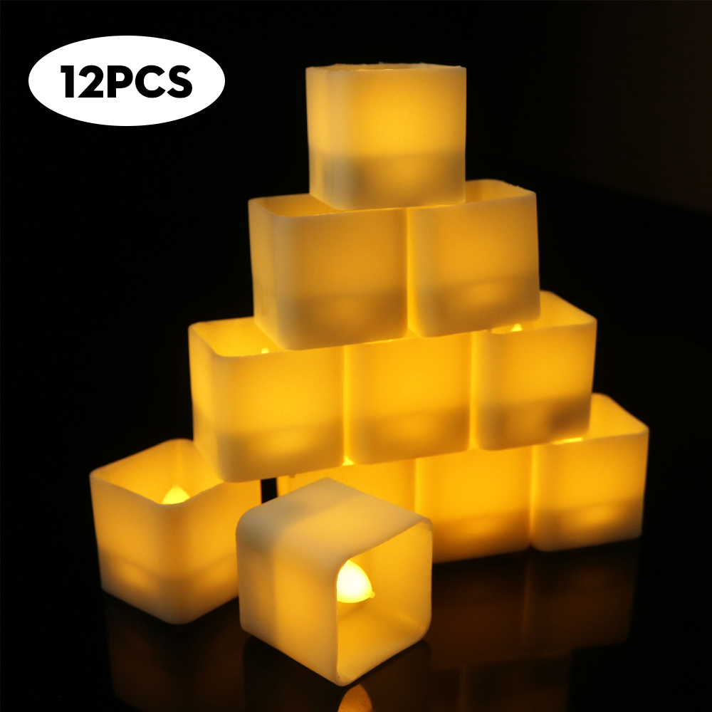 12Pcs Flameless LED Tealight Candles Night Lights Lamp Square Electronic Candles for Wedding Birthday Party Christmas Home Decor hanging paper fan decoration wedding birthday christmas decor party events decor home decor supplies flavor