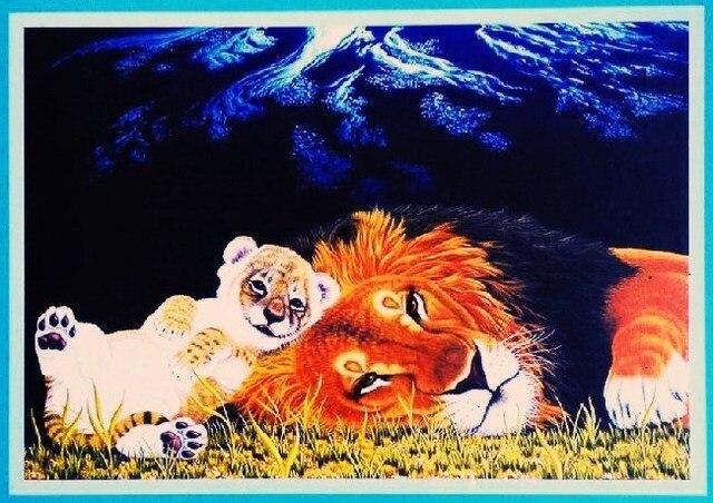Grosir 500 Puzzle Lanskap Lukisan Harimau Singa Kucing Kartun Hewan