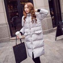 European Style Winter Women Clothing Long Section Cotton Down Hooded Coat Female Women Winter Jacket Warm