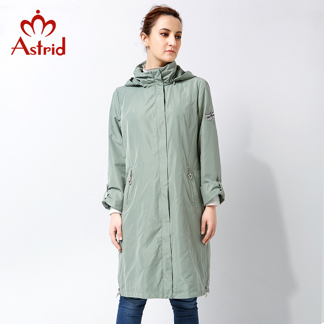 Astrid 2017 High Quitly Trench Coat for Women Plus Size Women's Windbreaker Spring and Autumn Coat Big Size Women Coat AS-2805