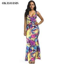 6f777c72e79 OKAYOASIS Summer Dresses 2018 New Women Tropical Print Dresses V-Neck Sexy  Women Summer Bohemian Beach Dress Party Maxi Dress