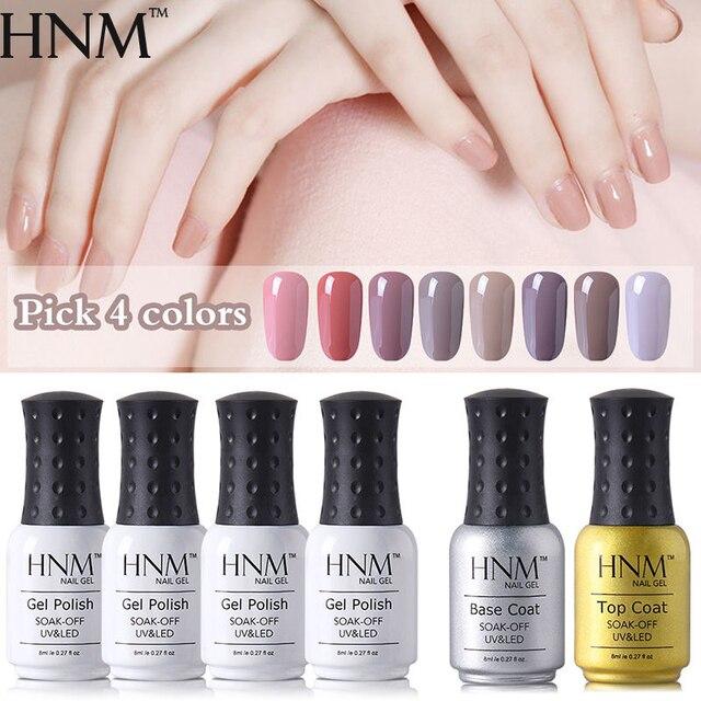 HNM 6pcs/lot Nude Color Ranges 4pcs Nail Polish + Base Top Coat Set ...