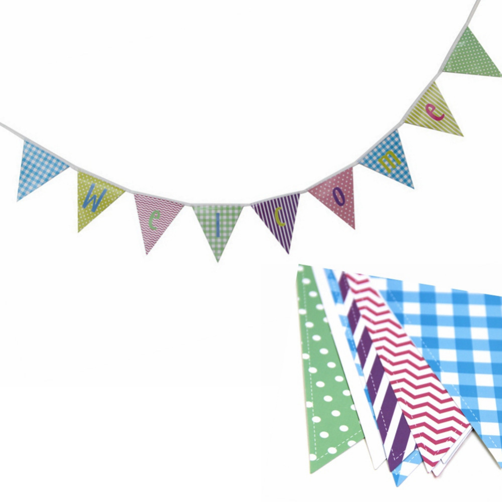 Pastel Welcome Back to School Banner Bunting Baby Shower Banner Birthday Party Wall Hanging Decor (Chevron,Polka Dots,Plaid)