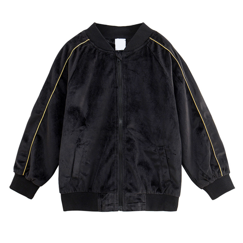 kids & teenager girls long sleeve black velvet casual fall winter bomber jacket coat children fashion velour outerwear clothing ethnic style flower print black and white collar long sleeve bomber jacket