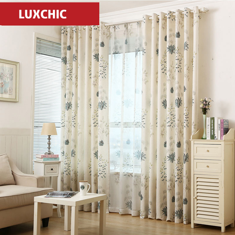 Rustic floral herb printed linen curtains for living room for Rustic curtains for living room
