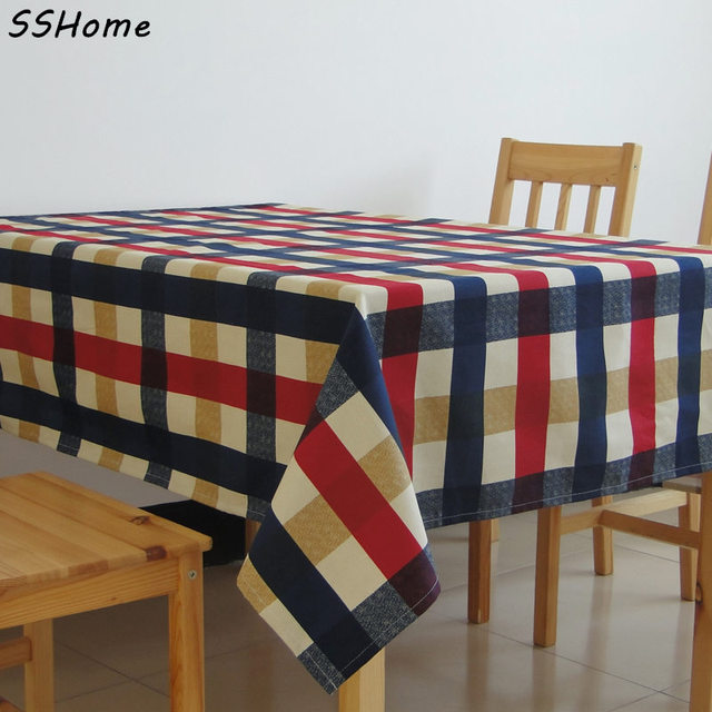 Attrayant Yellow U0026 Red U0026 Blue Plaid Design Tablecloths Printed Linen Cotton Table  Cloth Fabric Tea Tablecloth
