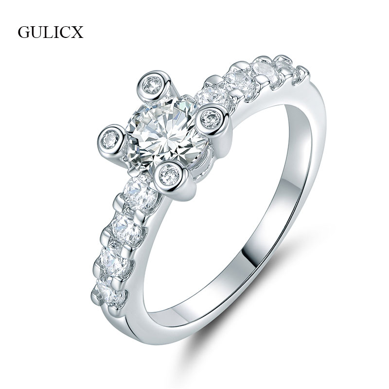 GULICX Trendy Silver-color Rings For Women Round Cut Zircon Wedding Rings Female Finger Rings Bijoux Lady Fashion Jewelry R175