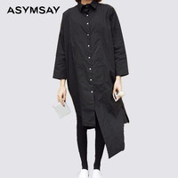 ASYSAY Womens White Shirts Black Long Back High Low Long Shirt Women Casual Cotton Linen Blouse