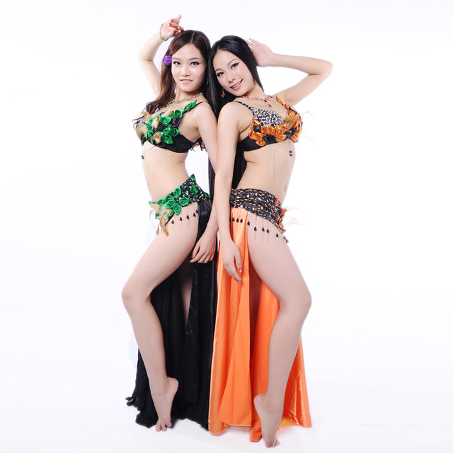 Hot Women Belly Dance Clothing 3pcs Outfit Feather Costume Rhinestone Bra C-cup Chiffon Long Skirt Belly Dance Costumes Orange 1