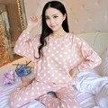 Novo 2016 Menina Ou Mulheres Pijama Define calças Noite Terno Sleepwear O-pescoço Padrão de Longo-sleeved Pijamas Pijamas Mujer Femme Homewear