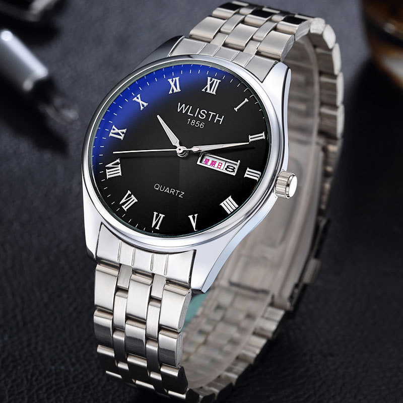 2019 Fashion Top Brand Classic Steel Leather Lovers Lady Men Watches Luxury Business Quartz Double Calendar Waterproof For Gift