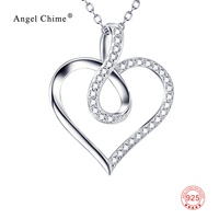 GNX9979 100 Real Pure 925 Sterling Silver Necklace Love Heart Pendant Infinity Love Crystal Charm Jewelry