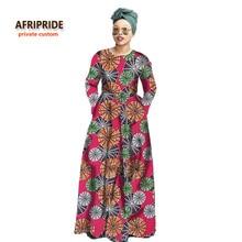 2017traditional batik african style dress for women bazin riche fashion femme suit set O-neck cotton plus size A722512