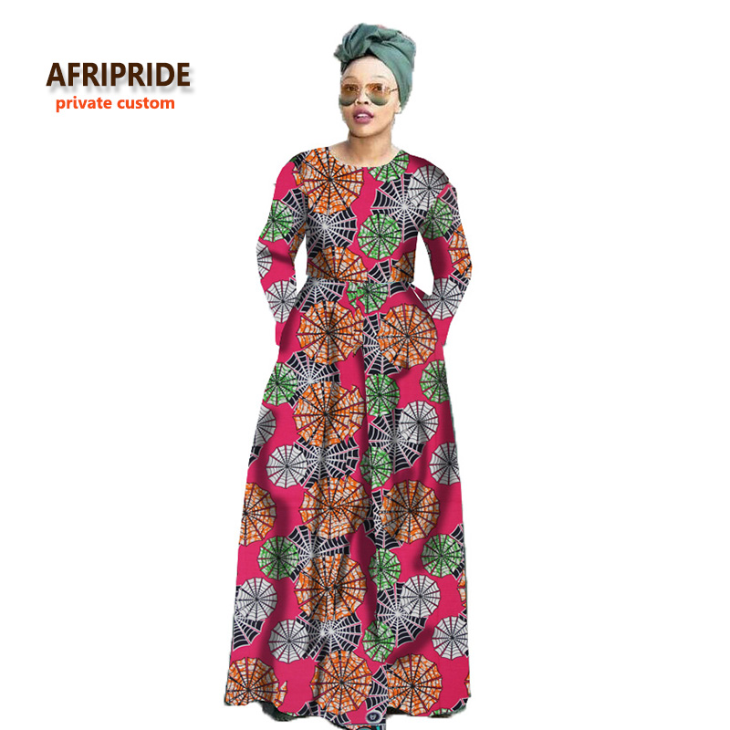 2019 african traditional classic maxi dress for women AFRIPRIDE ankara print full sleeve o-neck floor length women dress A722512